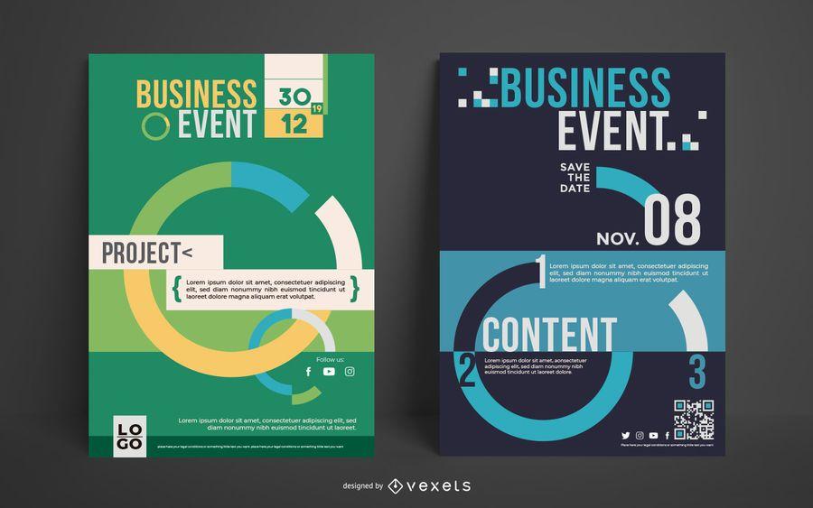 Conjunto de carteles de eventos empresariales