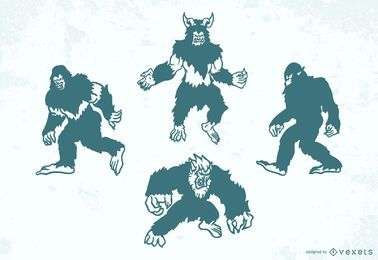Conjunto de silhueta de criaturas folclóricas