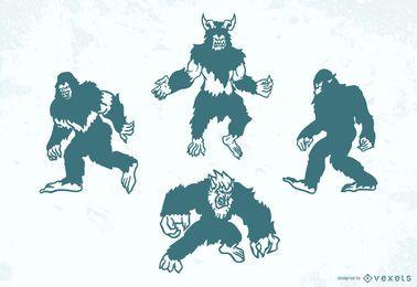 Conjunto de silhuetas de criaturas folclóricas