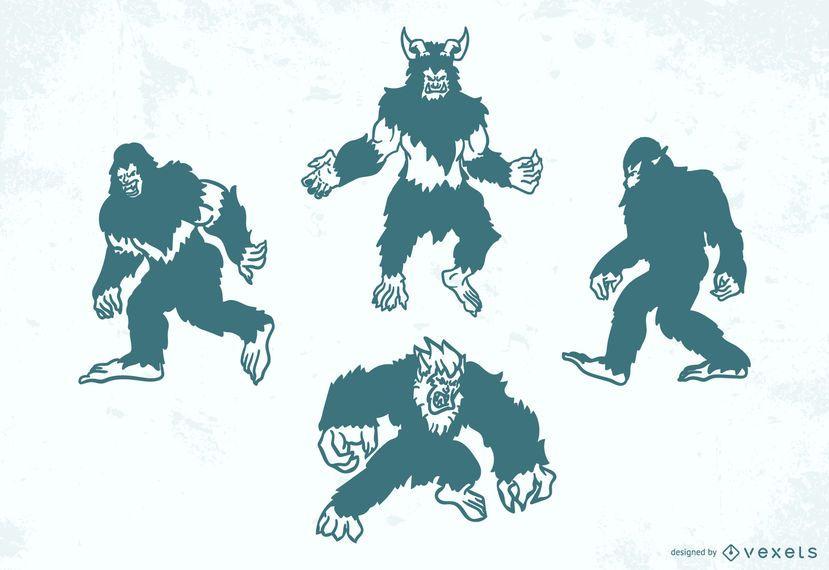 Folklore creatures silhouette set