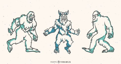 Yeti duotone vector set