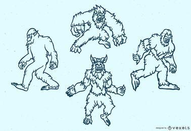 Conjunto de traços de monstros lendários