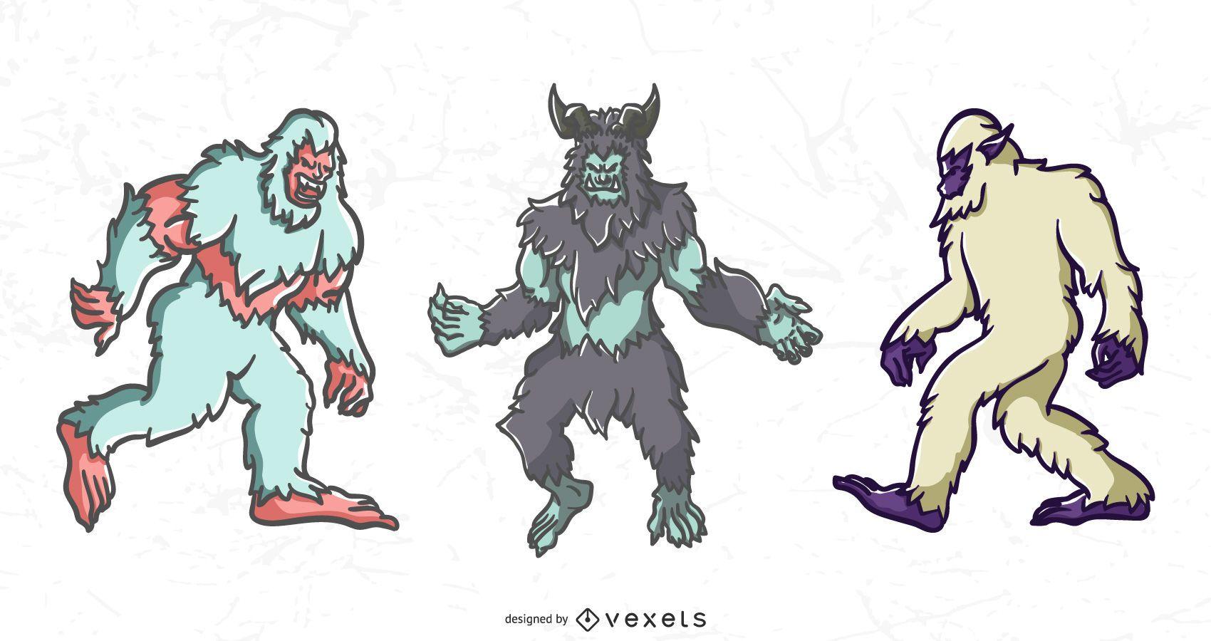 Yeti monster vector set