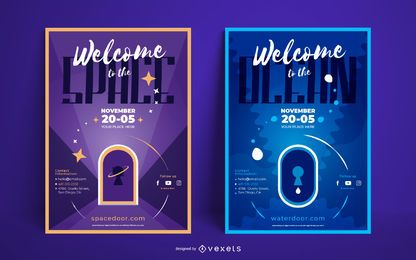 Space ocean poster set
