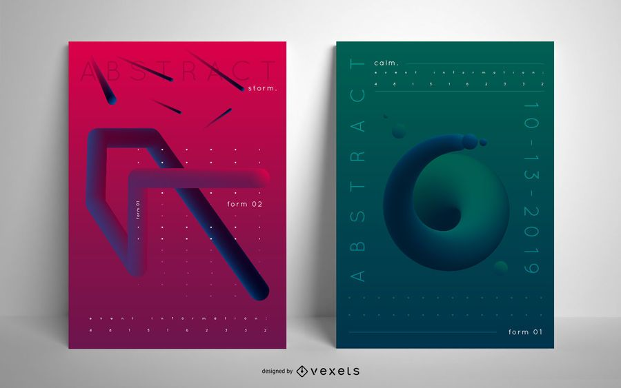 Abstract event poster set