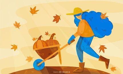 Desenho de ilustração de fazendeiro de outono