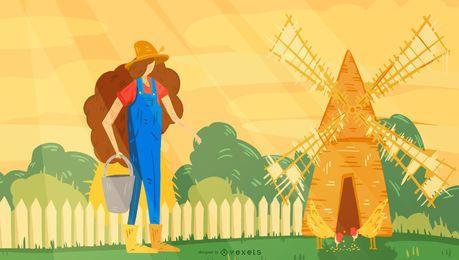 Diseño de ilustración de molino de viento de granjero