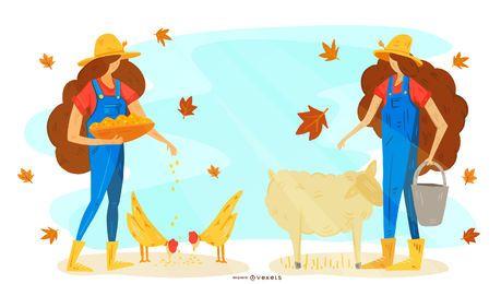 Diseño de ilustración de animales de granjero