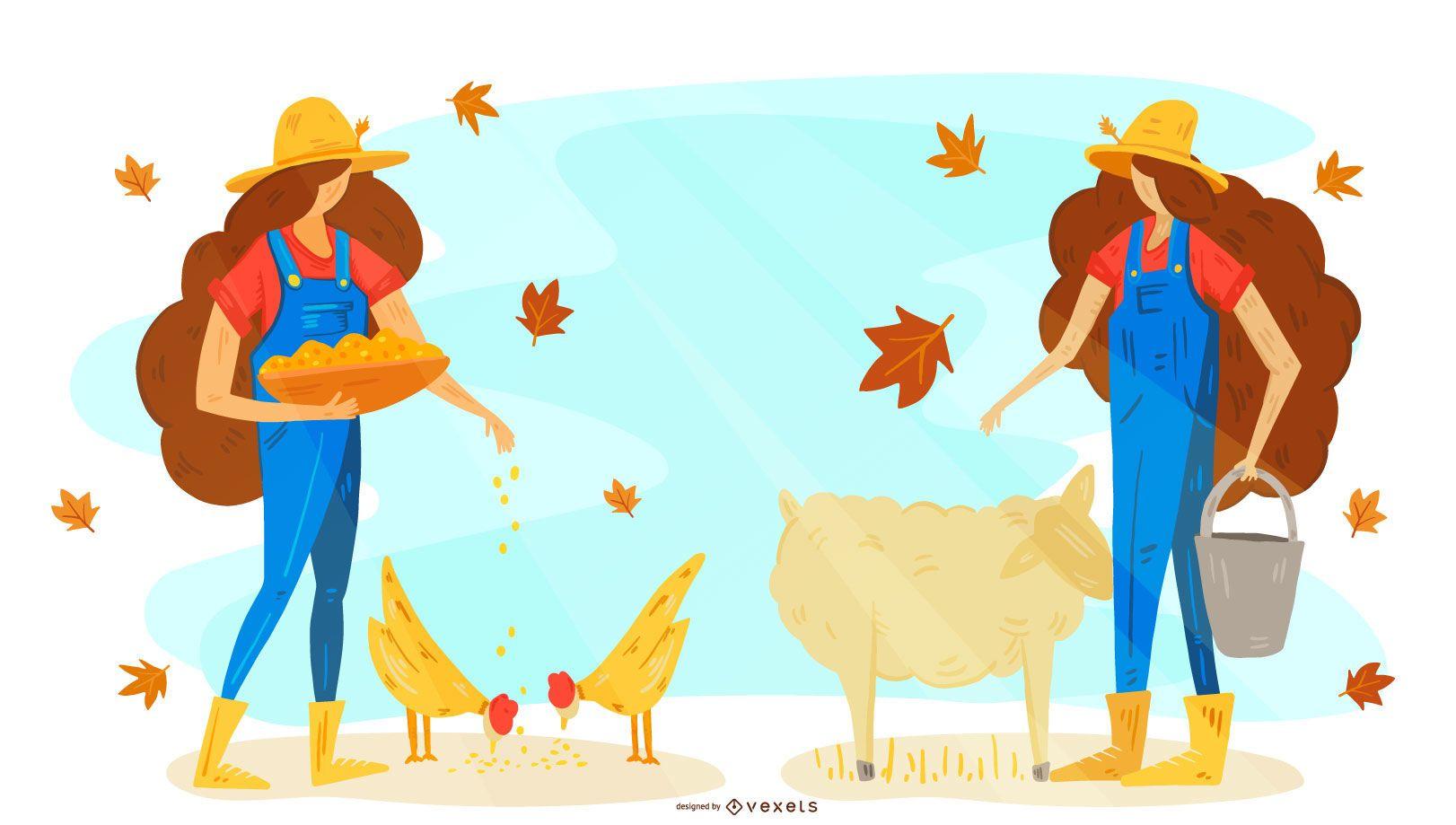 Farmer animals illustration design