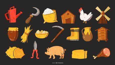 Coleção de elementos de fazenda