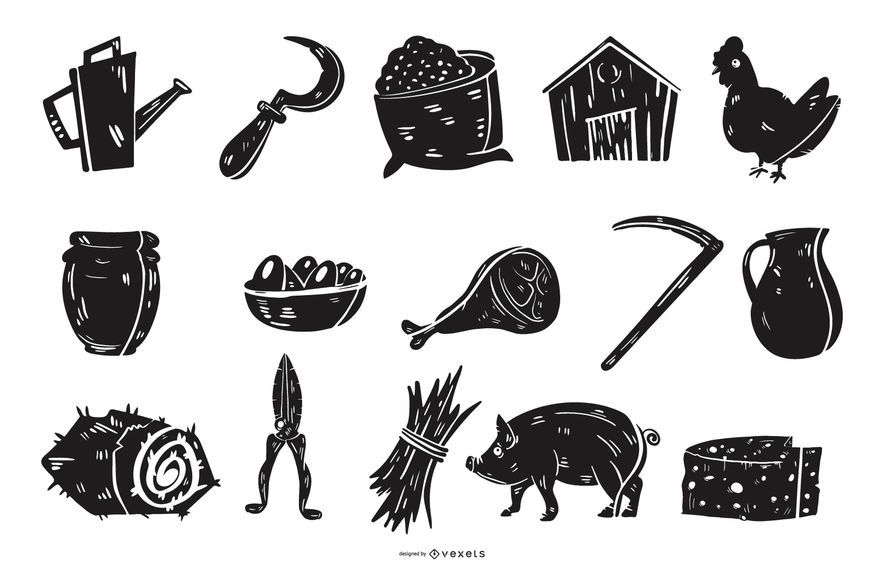 Farm silhouettes collection