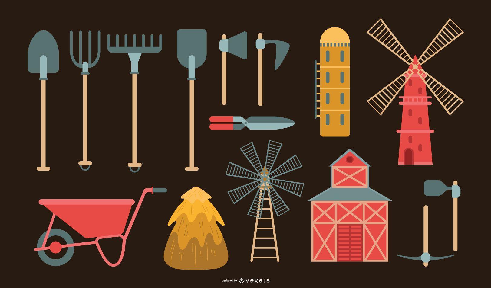 Colección de vectores de herramientas agrícolas