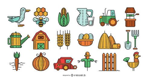 Farm elements colorful collection