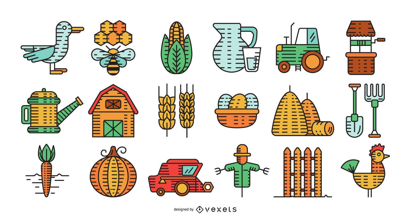 Colección colorida de elementos de granja