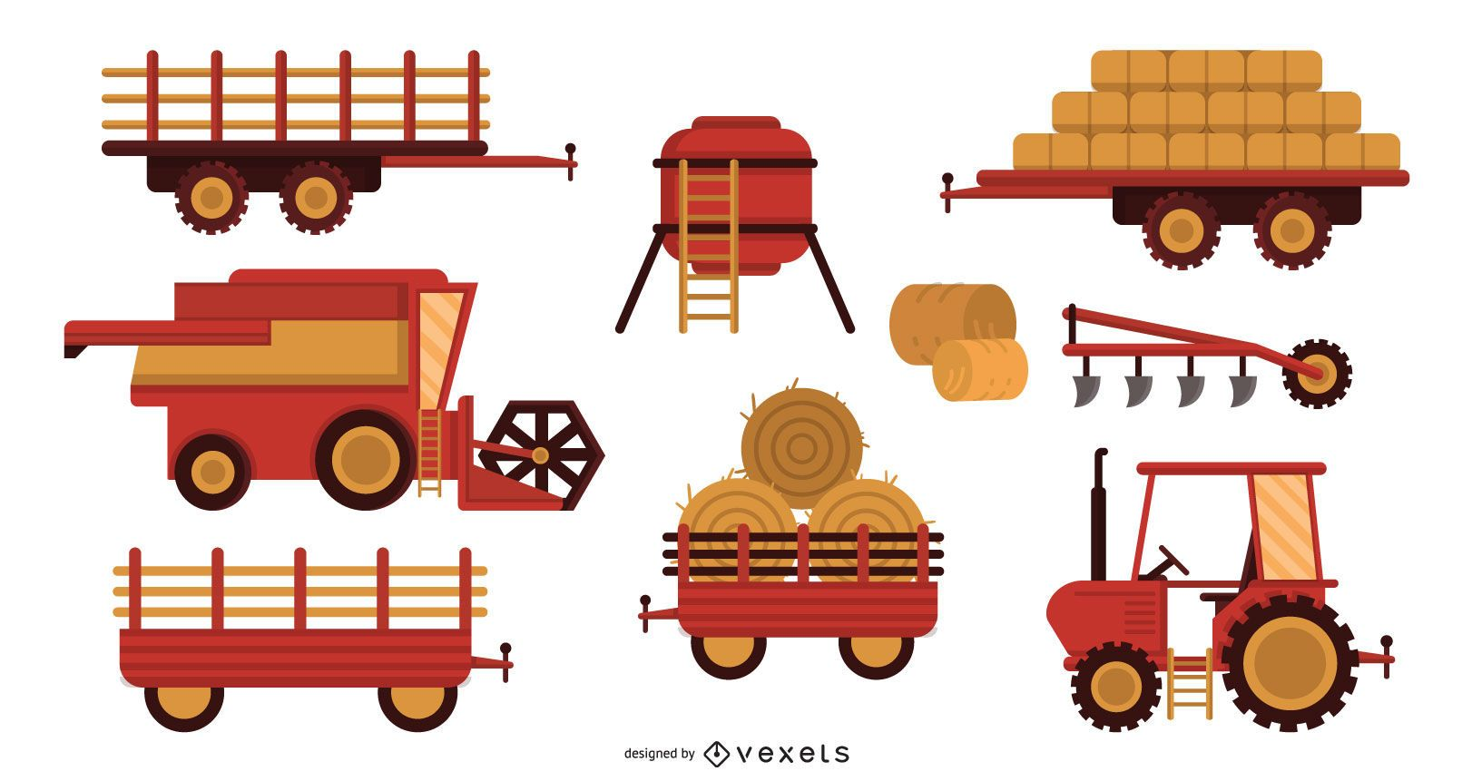 Farm machines vector set