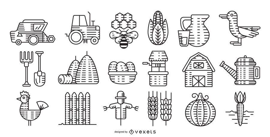 Colección de trazos de elementos de granja