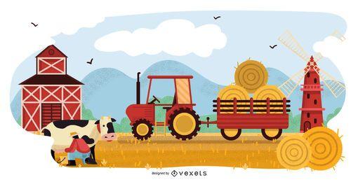 Projeto de ilustração de paisagem de fazenda