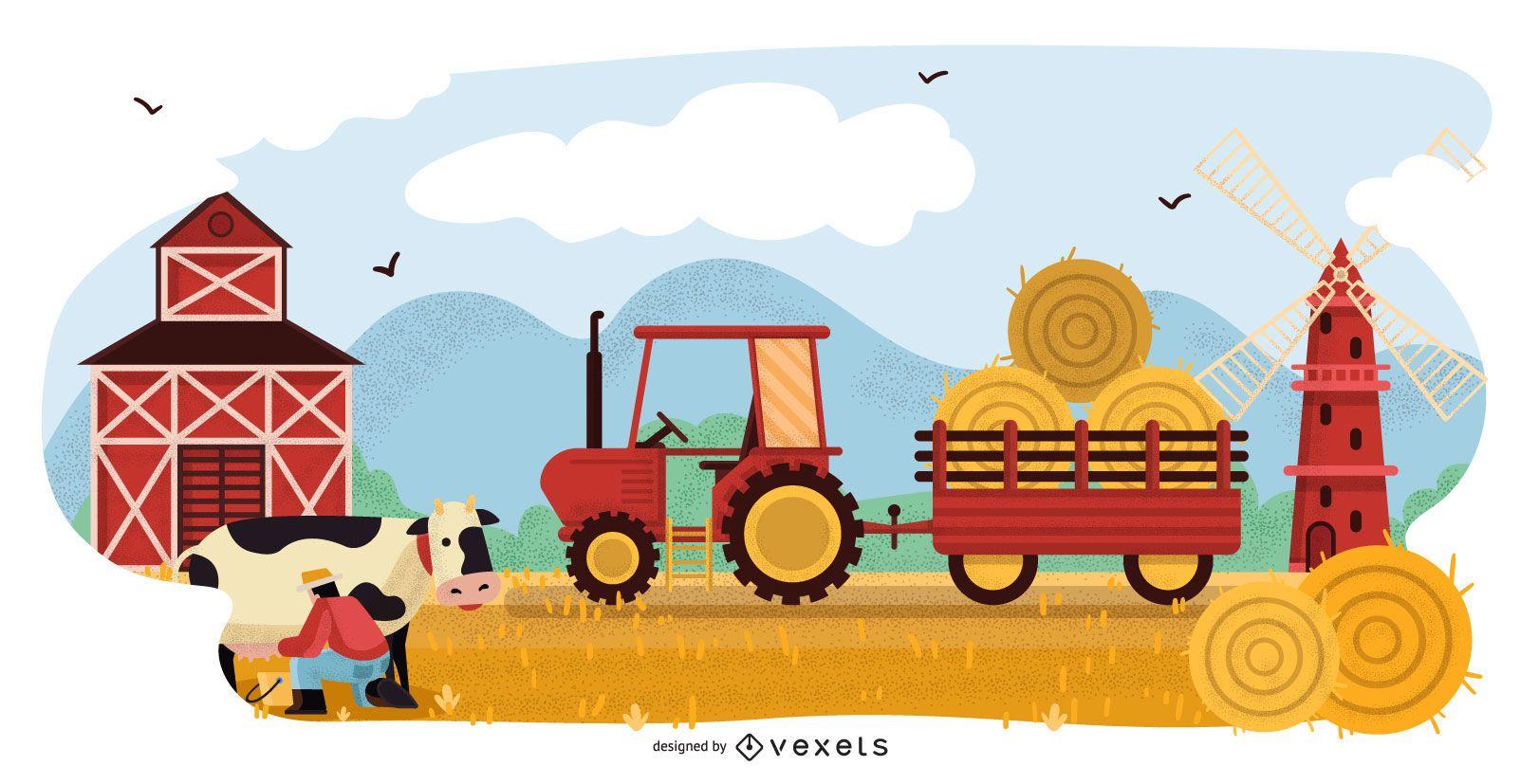 Diseño de ilustración de paisaje de granja
