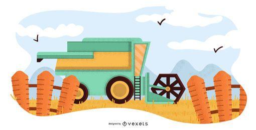 Landwirtschaftliche Maschinenillustration