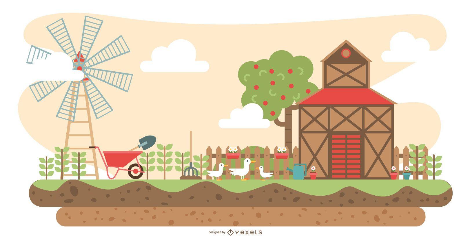 Ilustración plana de la granja