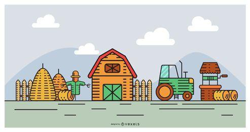 Diseño de escena de granja de diseño plano