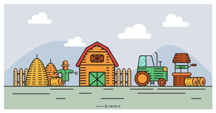 Flat Design Farm Scene Design