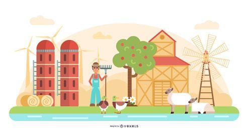 Ilustración de vector de escena de granjero