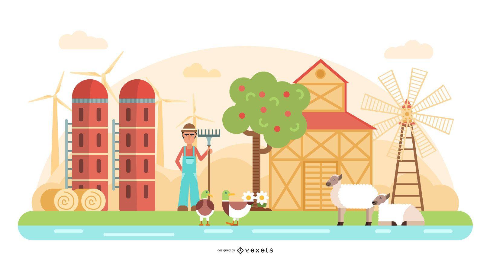 Farmer Scene Vector Illustration