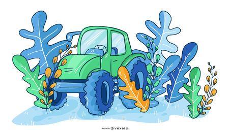 Ilustração de natureza de trator de agricultor
