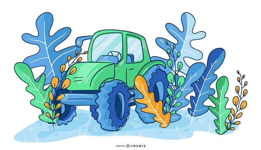 Farmer Tractor Nature Illustration