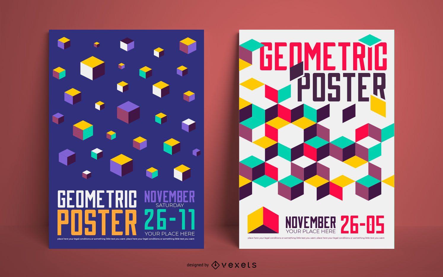 Geometric poster set