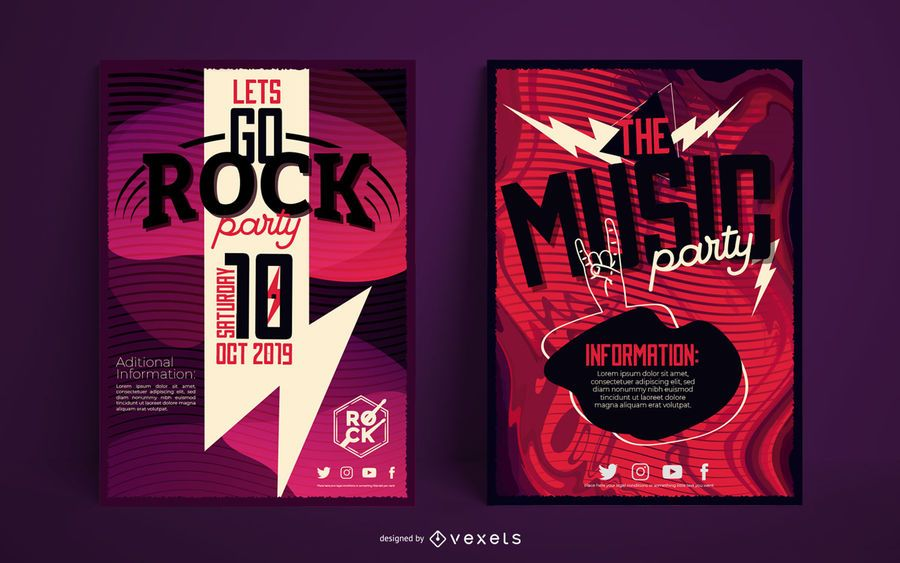 Music poster template set