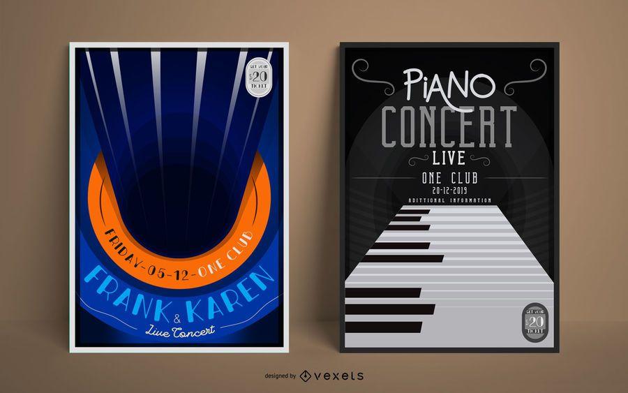 Conjunto de cartaz de concerto de música