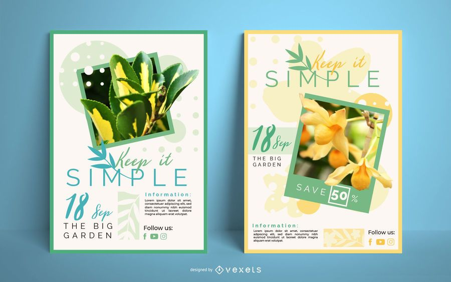 Flowers poster template set