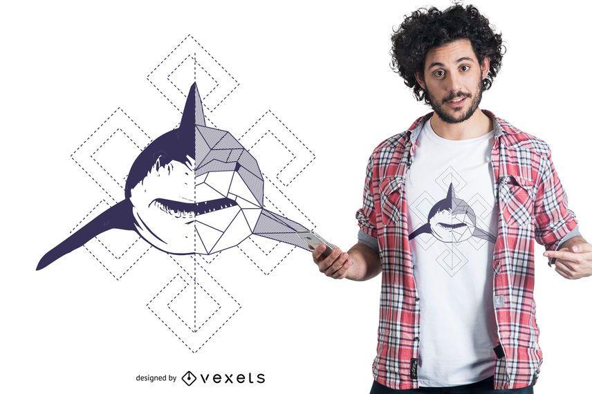 Tiburón con diseño abstracto de camiseta