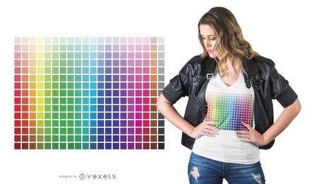 Diseño de camiseta de cuadrícula de color