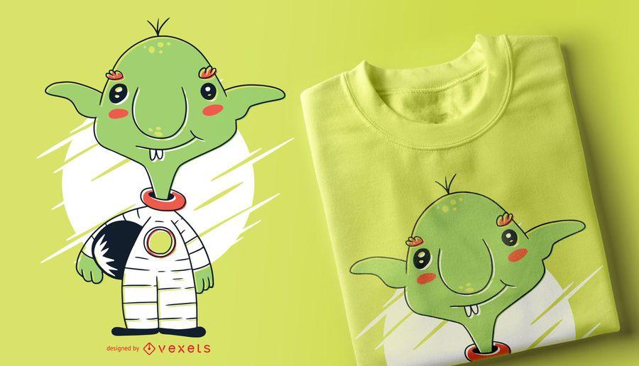 Projeto do t-shirt do astronauta do diabrete