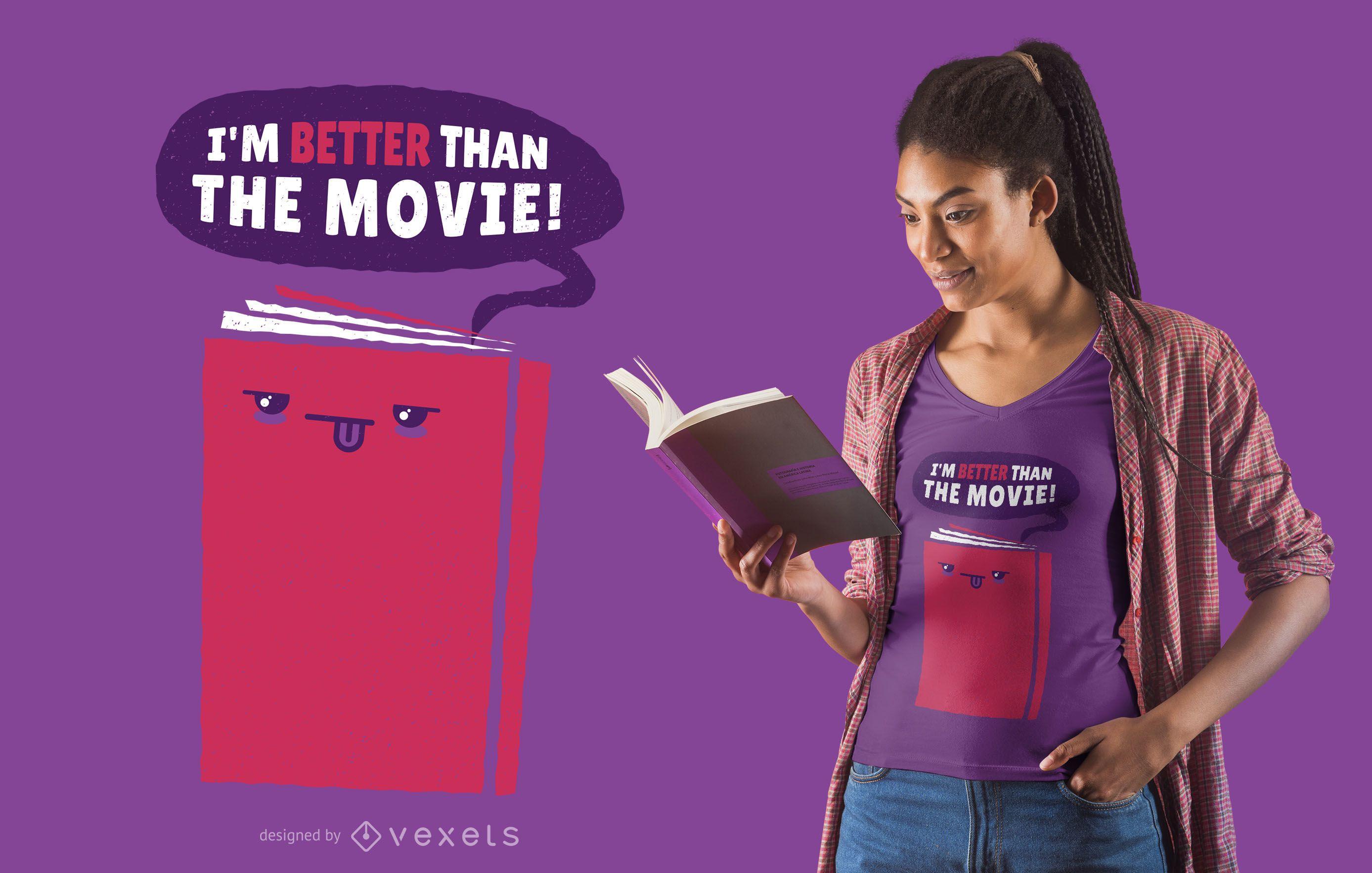 Livro melhor que design de camiseta de filme