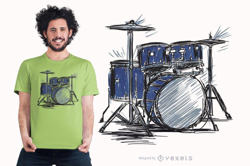 Design de t-shirt de música de esboço de bateria