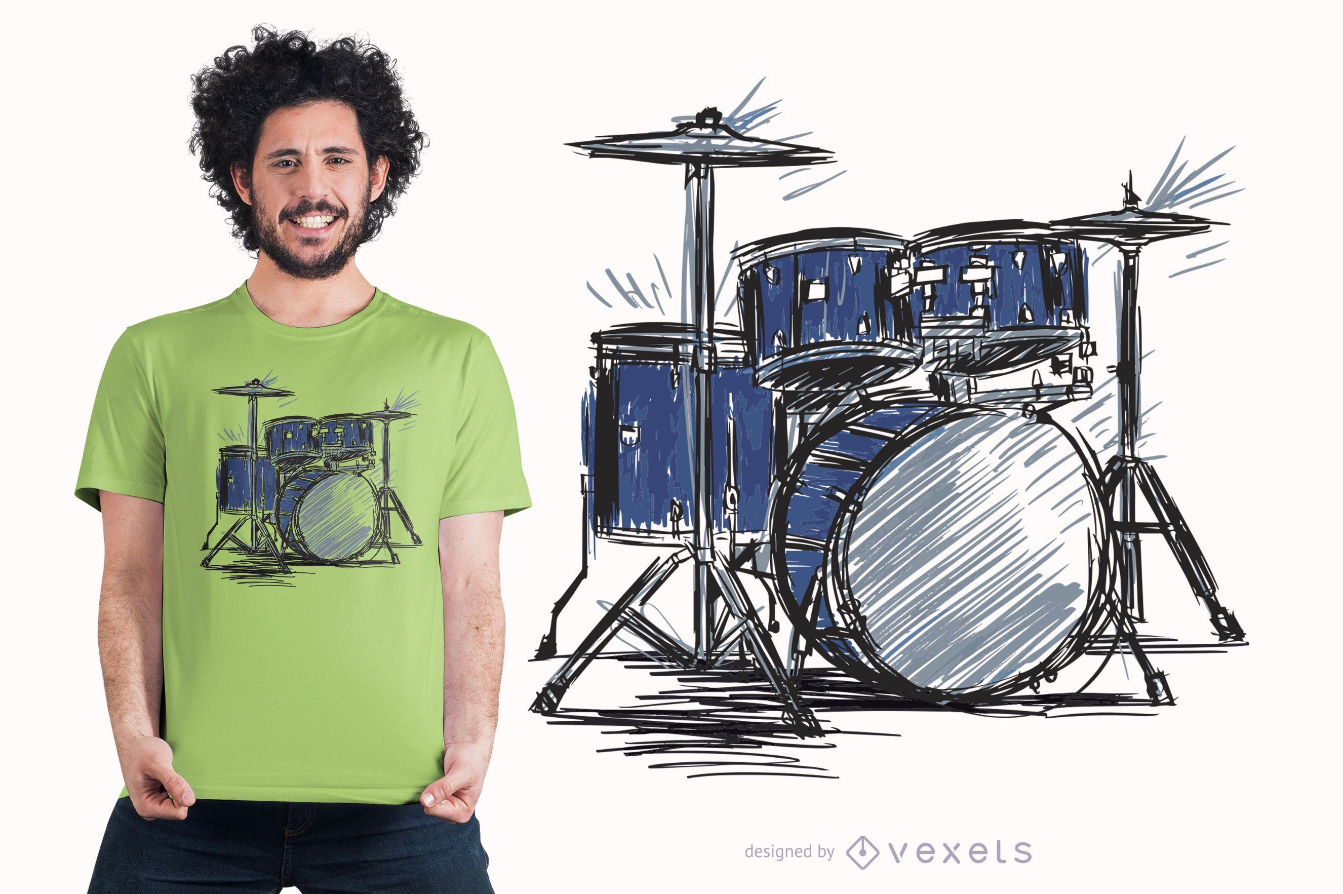 Drum Kit Sketch Music T-shirt Design
