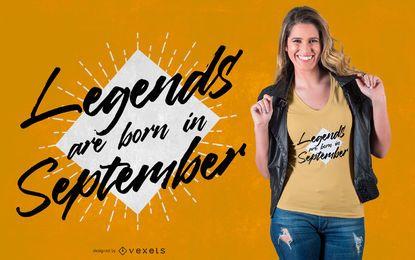 Diseño de camiseta de leyendas de septiembre.