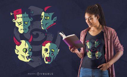 Diseño de camiseta de caras de monstruo