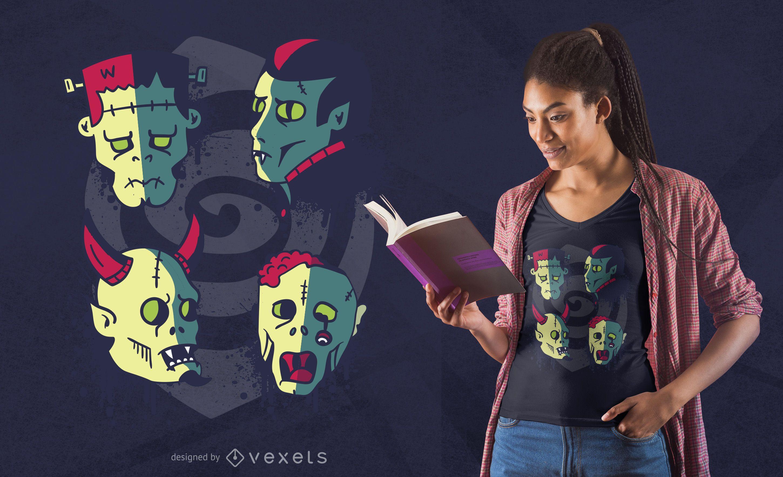 Monster faces t-shirt design
