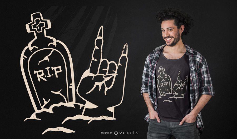 Diseño de camiseta rock tombstone