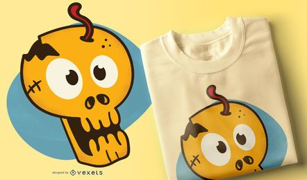 Cartoon-Schädel-T-Shirt-Design