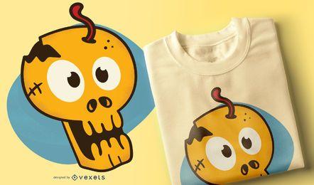 Desenho de camiseta com caveira de desenho animado
