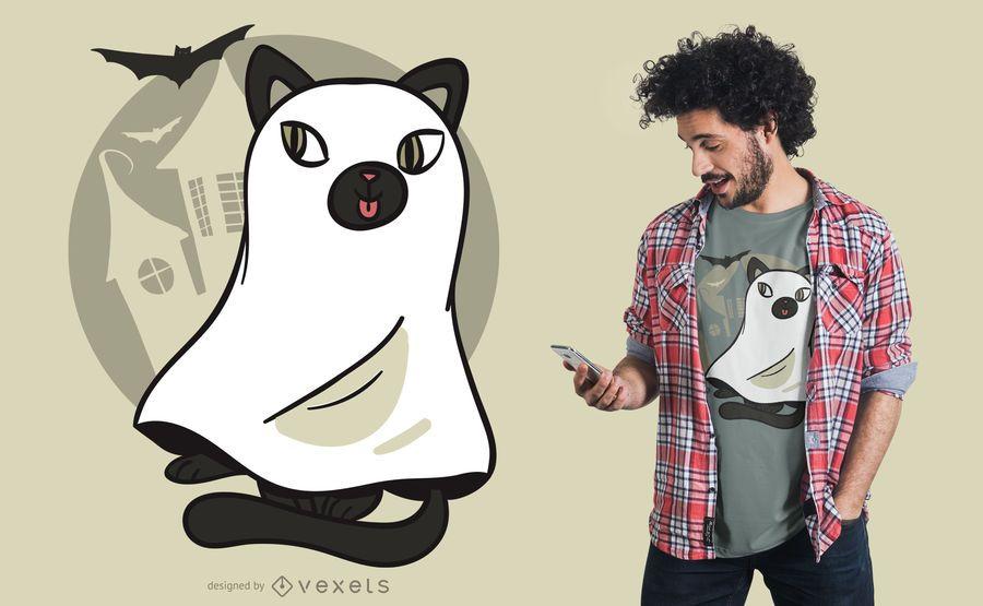 Diseño lindo de la camiseta del fantasma del gato