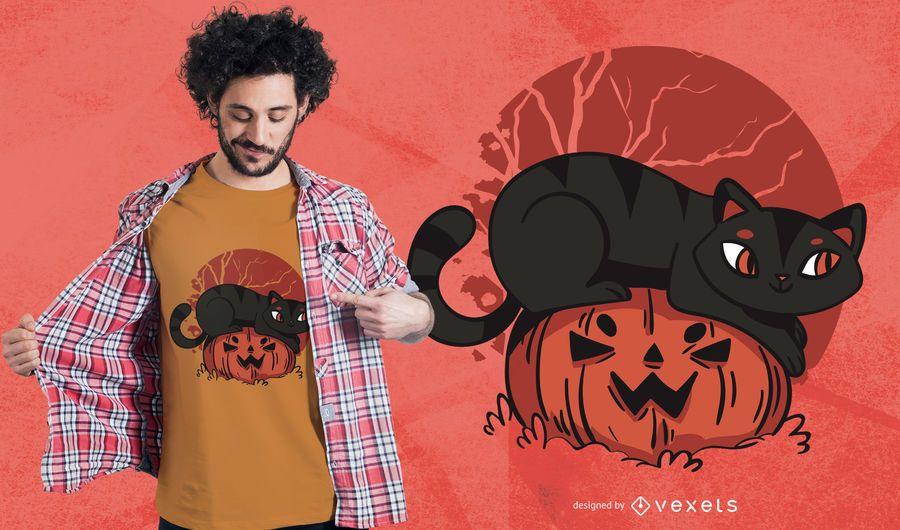 Diseño lindo de camiseta de calabaza de gato