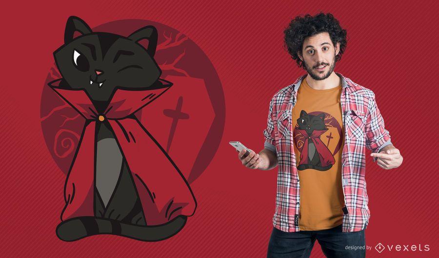 Diseño de camiseta de gato vampiro