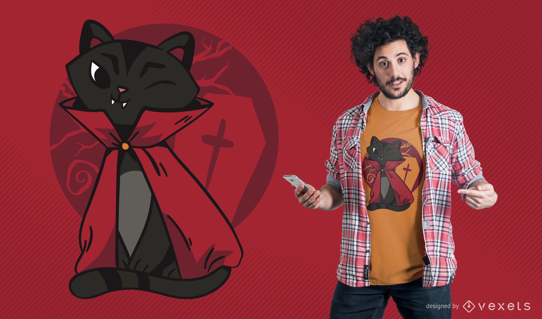 Vampir Katze T-Shirt Design